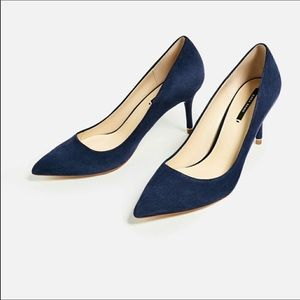 NWT ZARA LEATHER BLUE MID HEELS SHOES